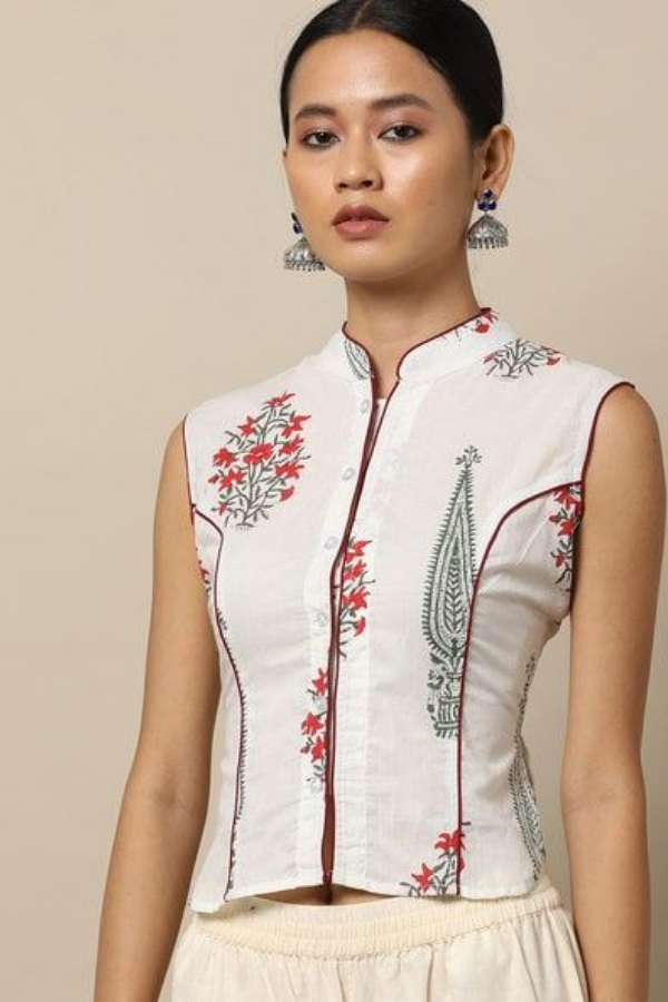 Mandarin Collar Blouse