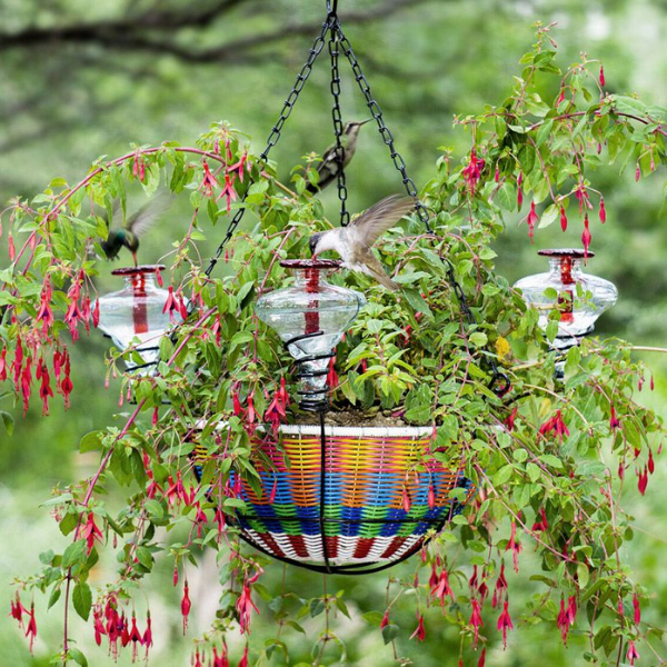 Hanging Planter Basket with Hummingbird Feeder