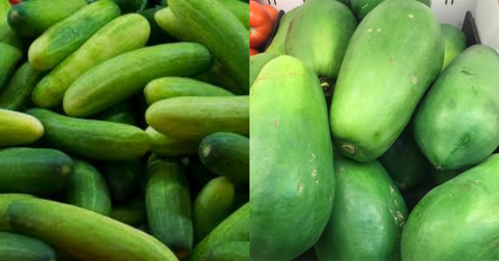 Cucumber + raw papaya