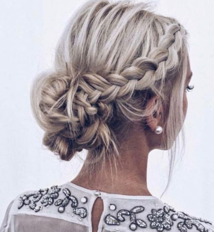 Half Braided Updo Hairstyle